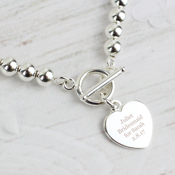 Personalised Silver Plated 'Any Message' Heart T-Bar Bracelet from Sassy Bloom Gifts - alternative view