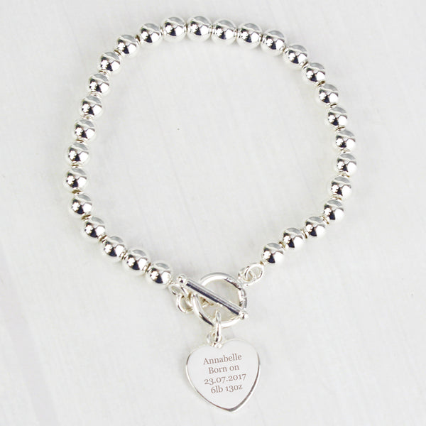 Personalised Silver Plated 'Any Message' Heart T-Bar Bracelet lifestyle image