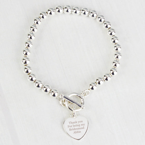 Personalised Silver Plated 'Any Message' Heart T-Bar Bracelet with personalised name