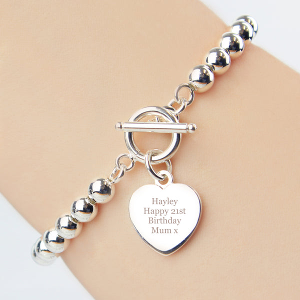 Personalised Silver Plated 'Any Message' Heart T-Bar Bracelet