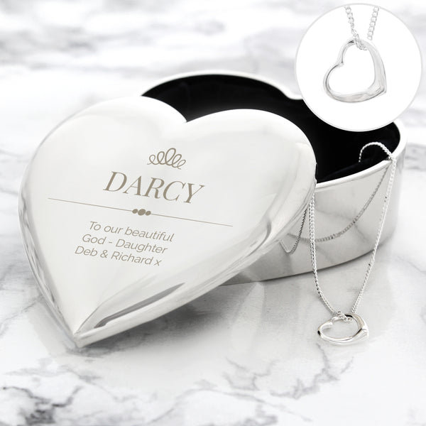 Personalised Elegant Crown Heart Trinket Box & Necklace Set from Sassy Bloom Gifts - alternative view
