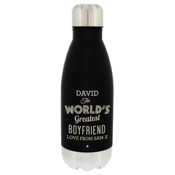 Personalised Worlds Greatest Black Travel Bottle white background