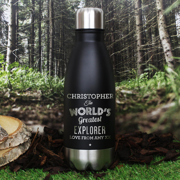 Personalised Worlds Greatest Black Travel Bottle from Sassy Bloom Gifts - alternative view