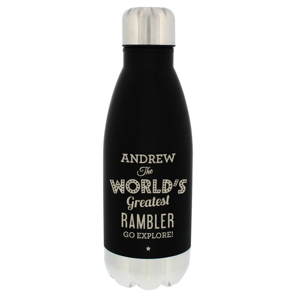 Personalised Worlds Greatest Black Travel Bottle lifestyle image