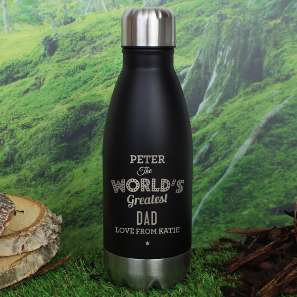 Personalised Worlds Greatest Black Travel Bottle with personalised name