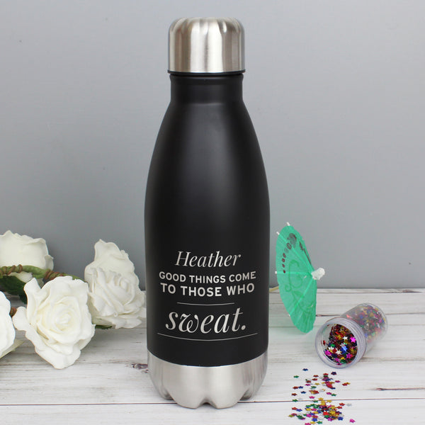Personalised Any Message Black Travel Bottle from Sassy Bloom Gifts - alternative view