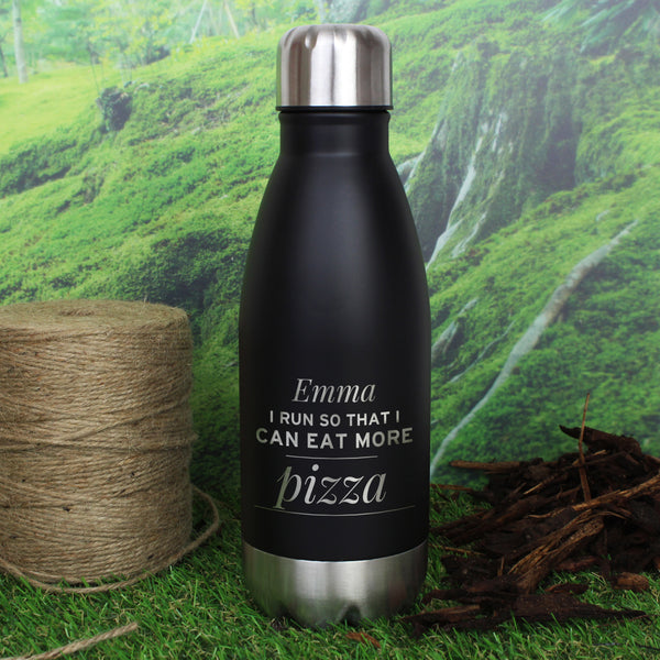 Personalised Any Message Black Travel Bottle