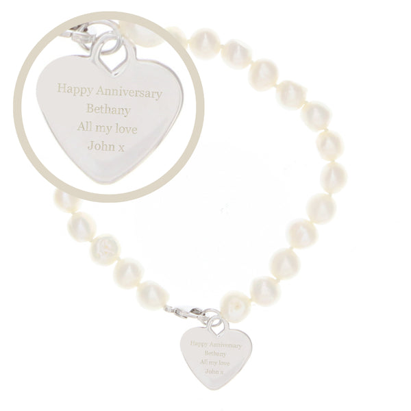 Personalised White Freshwater Pearl Message Bracelet white background