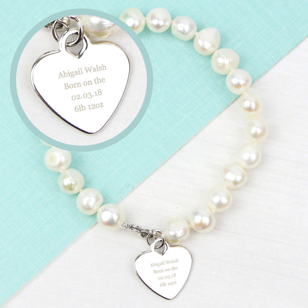 Personalised White Freshwater Pearl Message Bracelet lifestyle image