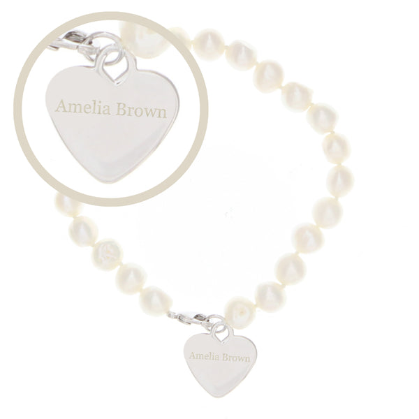 Personalised White Freshwater Pearl Name Bracelet white background