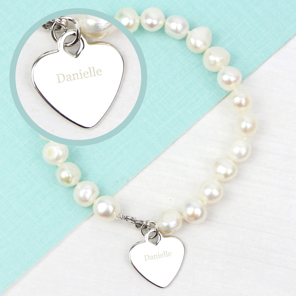 Personalised White Freshwater Pearl Name Bracelet with personalised name