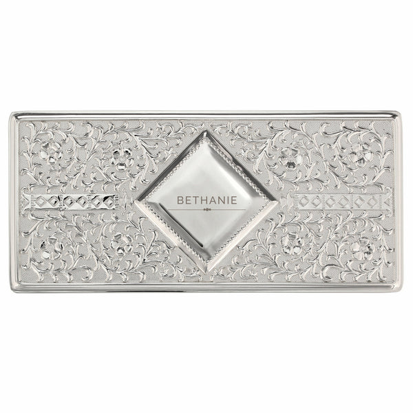 Personalised Classic Antique Silver Plated Jewellery Box white background
