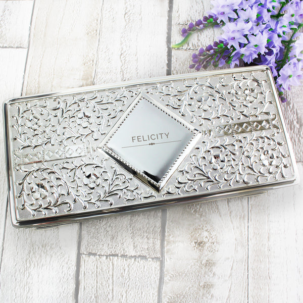 Personalised Classic Antique Silver Plated Jewellery Box lifestyle image