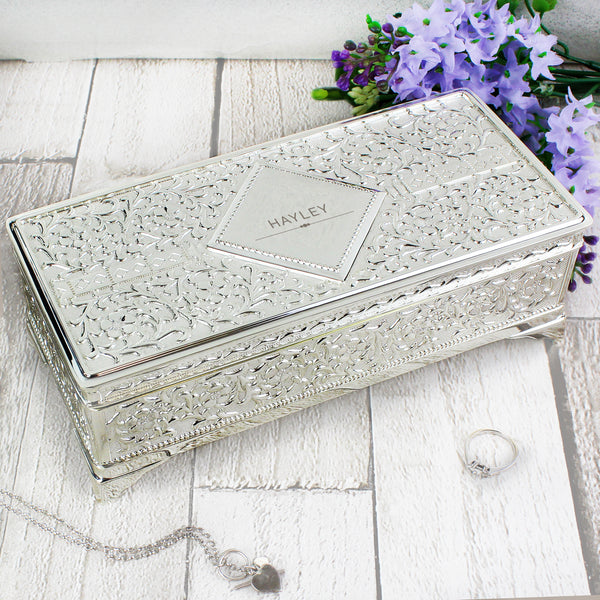 Personalised Classic Antique Silver Plated Jewellery Box with personalised name