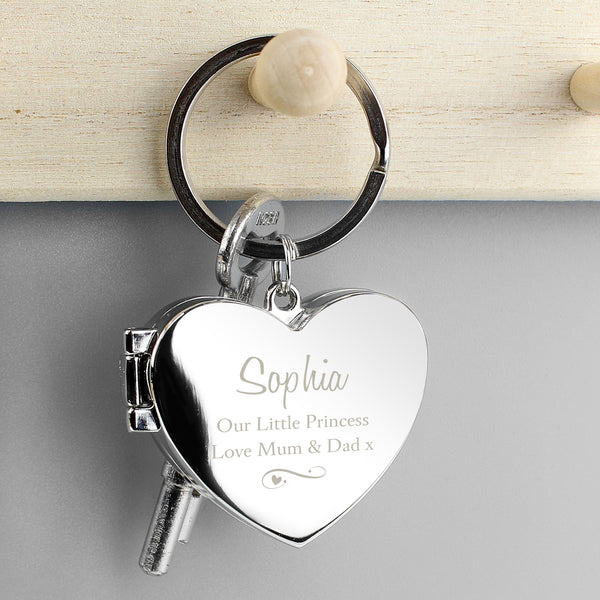 Personalised Swirl Heart Photoframe Keyring with personalised name
