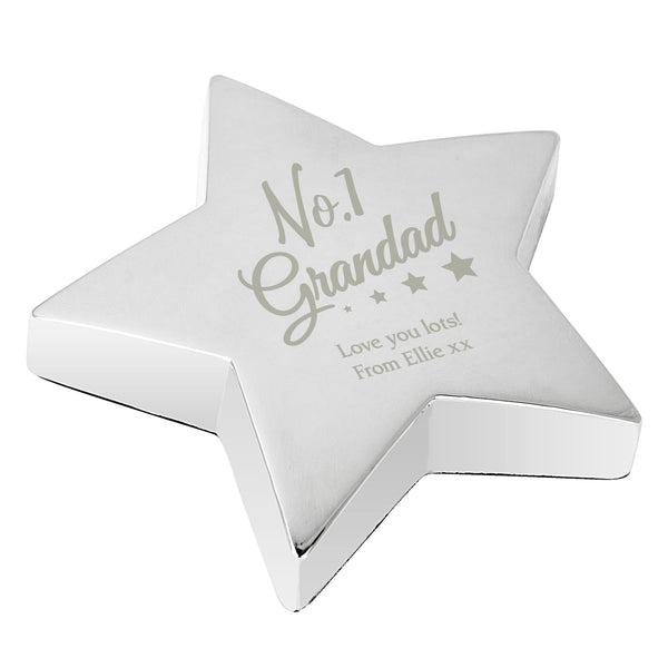 Personalised No.1 Grandad Star Paperweight white background