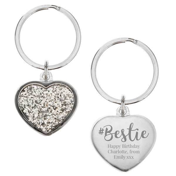 Personalised #Bestie Diamante Heart Keyring white background
