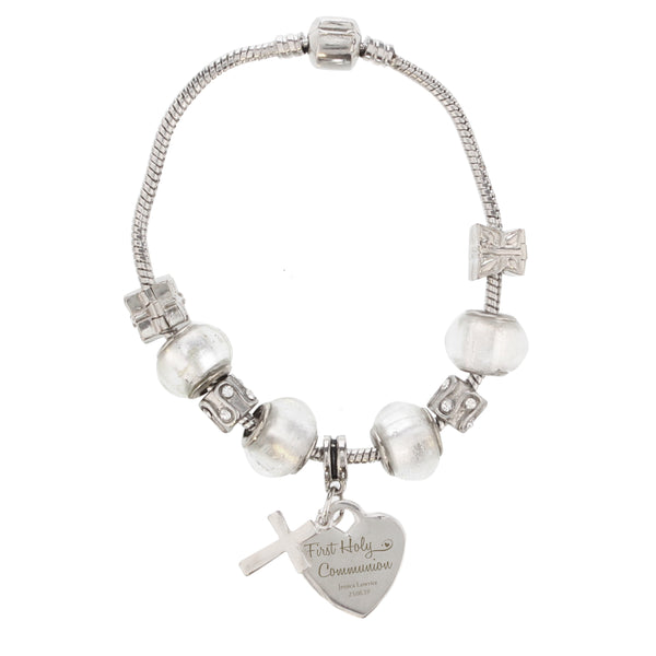 Personalised First Holy Communion Charm Bracelet - Ice White - 18cm white background