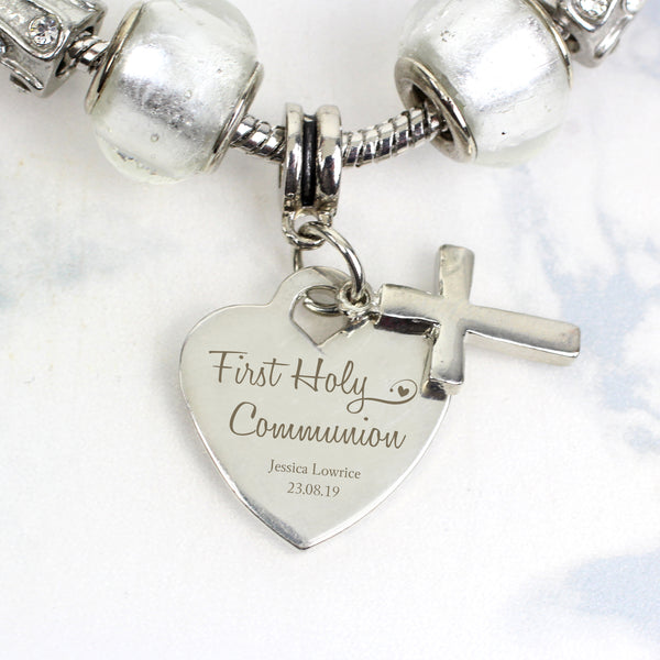 Personalised First Holy Communion Charm Bracelet - Ice White - 18cm from Sassy Bloom Gifts - alternative view
