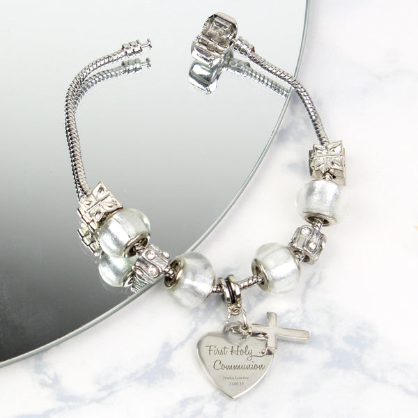 Personalised First Holy Communion Charm Bracelet - Ice White - 18cm lifestyle image