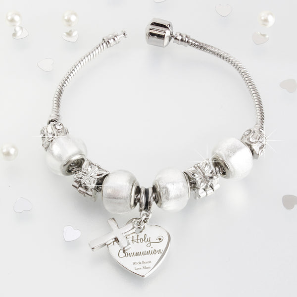 Personalised First Holy Communion Charm Bracelet - Ice White - 18cm with personalised name