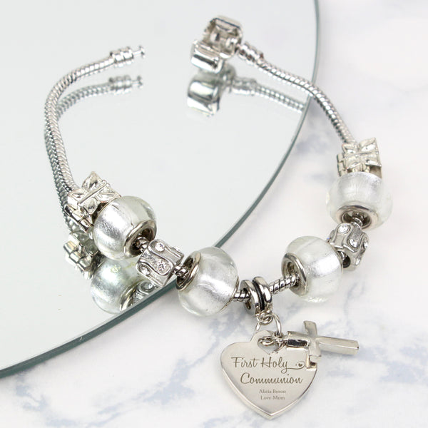 Personalised First Holy Communion Charm Bracelet - Ice White - 18cm