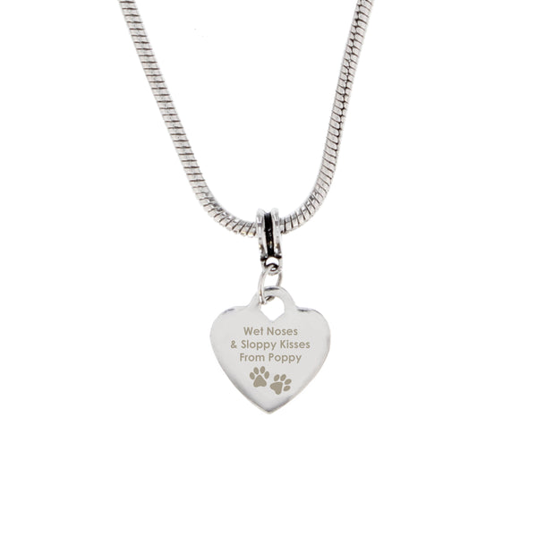 Personalised Pawprints Heart Charm Necklace white background