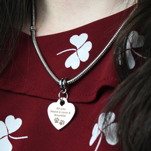 Personalised Pawprints Heart Charm Necklace from Sassy Bloom Gifts - alternative view