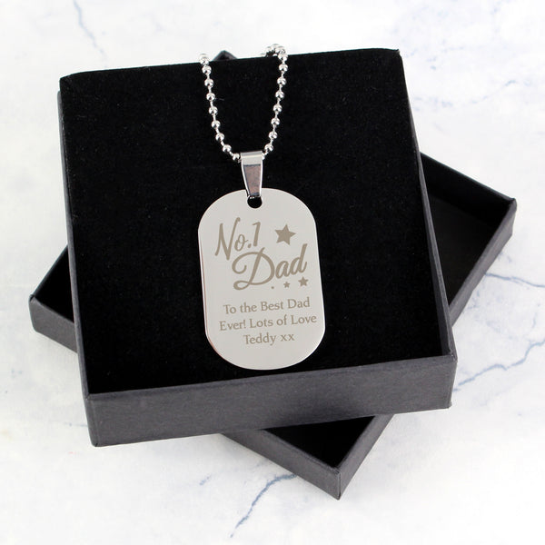 Personalised No.1 Dad Stainless Steel Dog Tag Necklace lifestyle image
