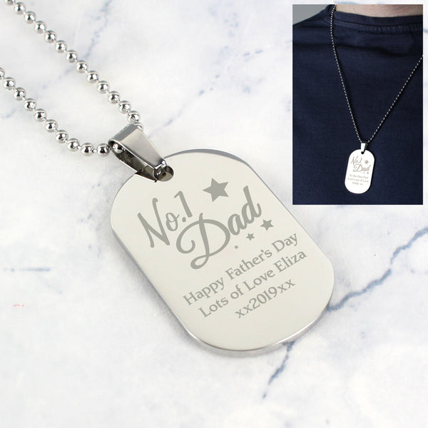 Personalised No.1 Dad Stainless Steel Dog Tag Necklace with personalised name