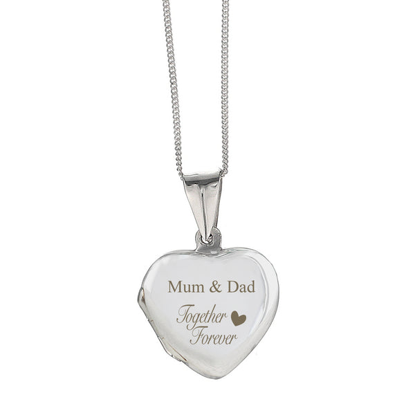 Personalised Sterling Silver 'Together Forever' Heart Locket white background