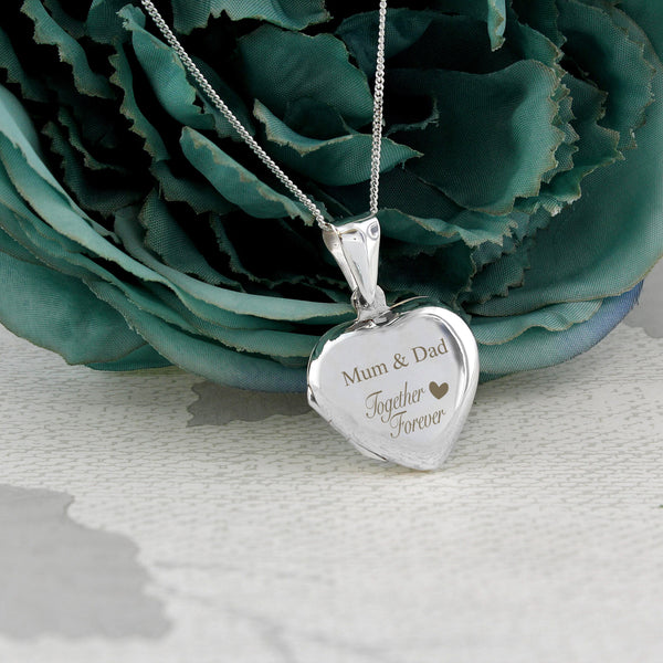 Personalised Sterling Silver 'Together Forever' Heart Locket with personalised name