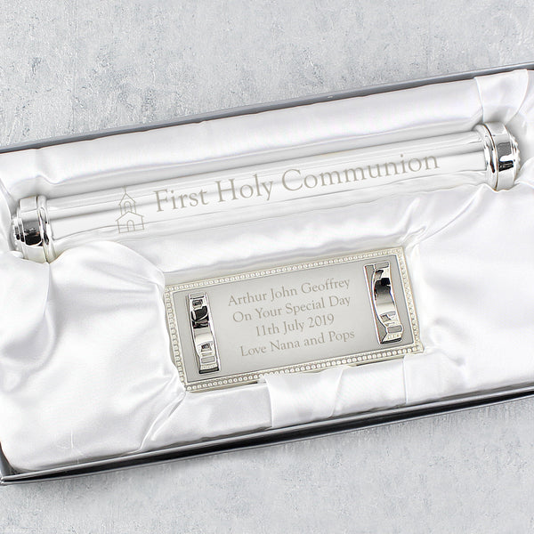 Personalised First Holy Communion Silver Plated Certificate Holder from Sassy Bloom Gifts - alternative view