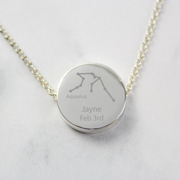 Personalised Aquarius Zodiac Star Sign Silver Tone Necklace (January 20th - February 18th) lifestyle image