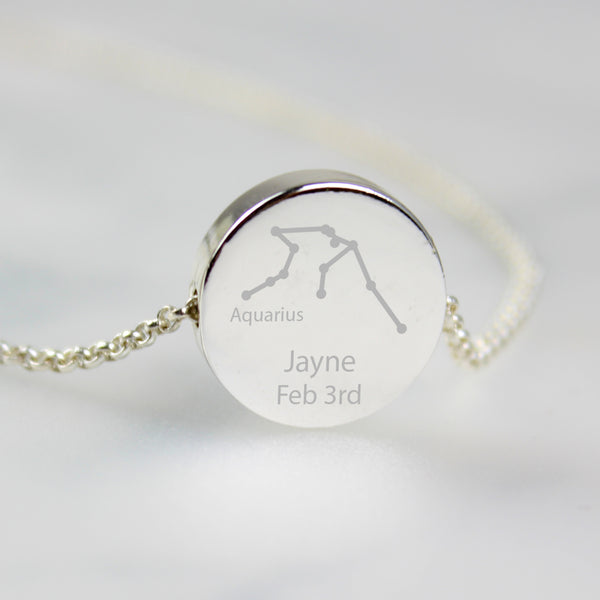 Personalised Aquarius Zodiac Star Sign Silver Tone Necklace (January 20th - February 18th) with personalised name
