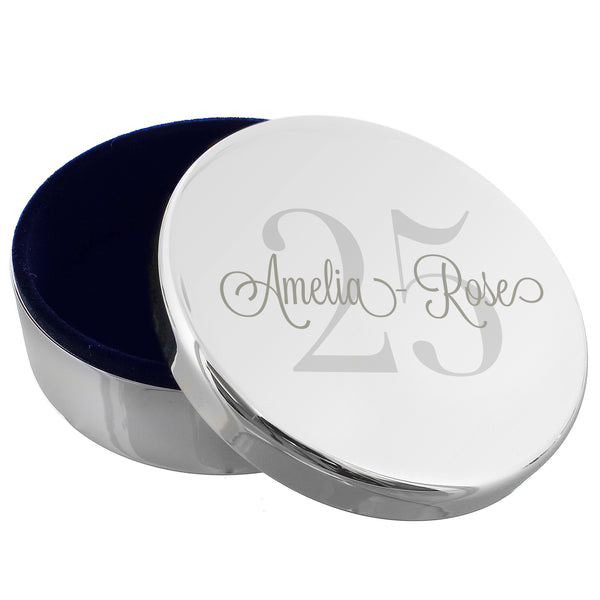 Personalised Birthday Big Age Round Trinket Box white background