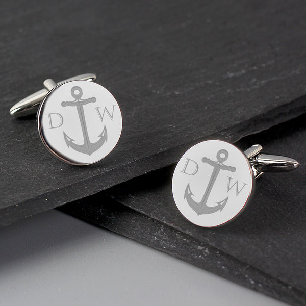 Personalised Anchor Round Cufflinks lifestyle image