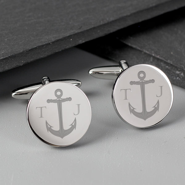 Personalised Anchor Round Cufflinks with personalised name