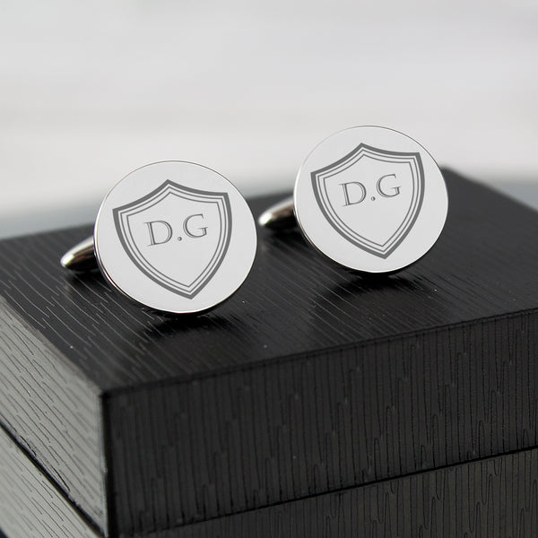 Personalised Shield Round Cufflinks from Sassy Bloom Gifts - alternative view