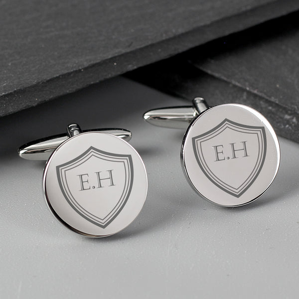 Personalised Shield Round Cufflinks lifestyle image