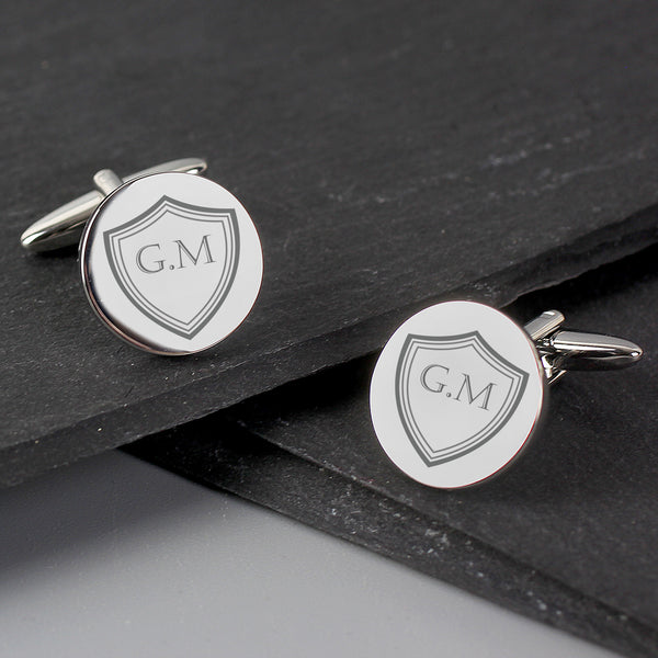 Personalised Shield Round Cufflinks with personalised name