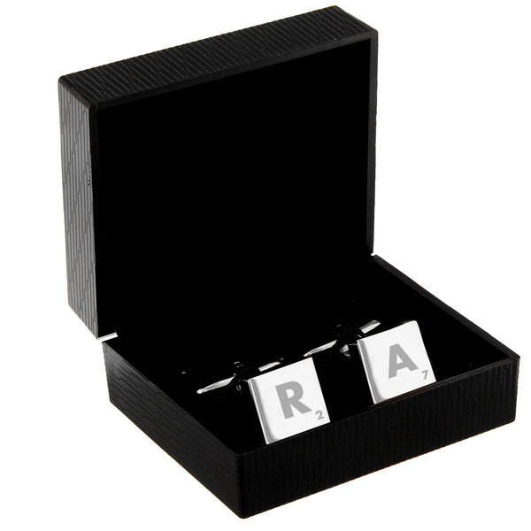 Personalised Initials and Age Square Cufflinks white background