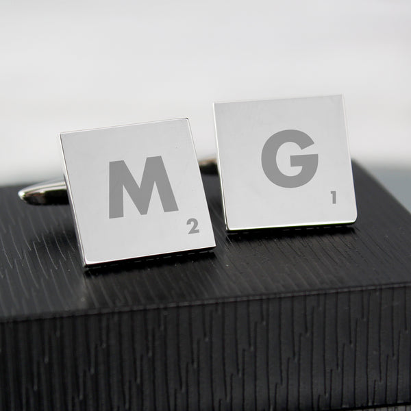 Personalised Initials and Age Square Cufflinks with personalised name