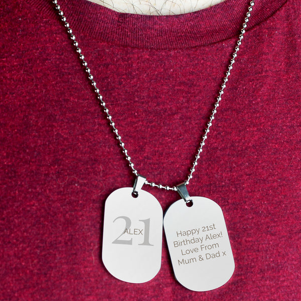 Personalised Big Age Stainless Steel Double Dog Tag Necklace from Sassy Bloom Gifts - alternative view