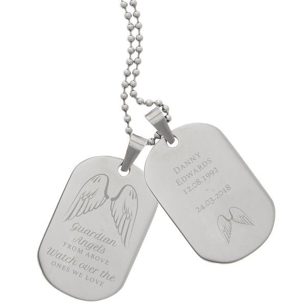 Personalised Guardian Angel Stainless Steel Double Dog Tag Necklace white background