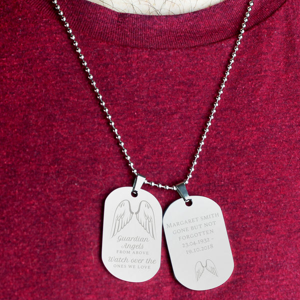 Personalised Guardian Angel Stainless Steel Double Dog Tag Necklace from Sassy Bloom Gifts - alternative view