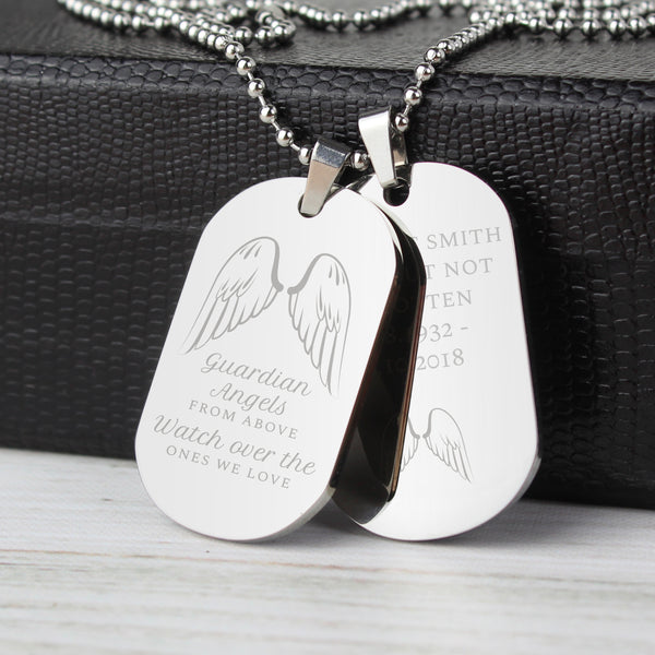 Personalised Guardian Angel Stainless Steel Double Dog Tag Necklace lifestyle image