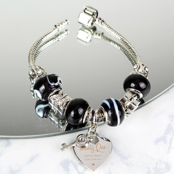 Personalised Swirls & Hearts 21st Birthday Key Charm Bracelet - Galaxy - 21cm