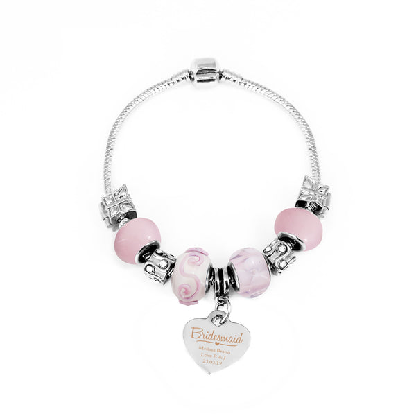 Personalised Swirls & Hearts Bridesmaid Charm Bracelet - Candy Pink - 18cm white background