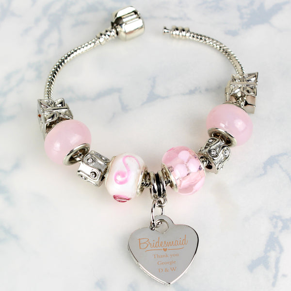 Personalised Swirls & Hearts Bridesmaid Charm Bracelet - Candy Pink - 18cm lifestyle image